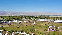 A view of the main stage, as well as the Outdoor Theatre from the famous ferris wheel at the Coachella grounds, La Grande Wheel on Sunday, April 20th.