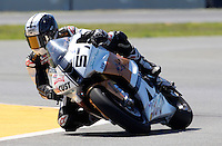 Jeremy Toye (57) is shown in action during the AMA SuperBike motorcycle race at Daytona International Speedway, Daytona Beach, FL, March 2011.(Photo by Brian Cleary/www.bcpix.com)