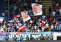 Kieler Fans - 04.08.2019: SV Darmstadt 98 vs. Holstein Kiel, Stadion am Boellenfalltor, 2. Spieltag 2. Bundesliga<br /> DISCLAIMER: <br /> DFL regulations prohibit any use of photographs as image sequences and/or quasi-video.