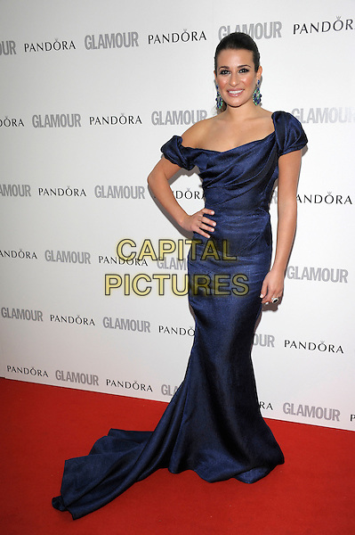 Lea Michele.Women Of The Year 2012 - Glamour Awards, Berkeley Square, London, England..29th May 2012.full length blue off the shoulder dress hand on hip train.CAP/PL.©Phil Loftus/Capital Pictures.