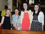 Regan Murray, Charlotte Dyas, Caitlyn Kirwan and Emma Tuite who were confirmd in St Michael's church Clogherhead. Photo:Colin Bell/pressphotos.ie