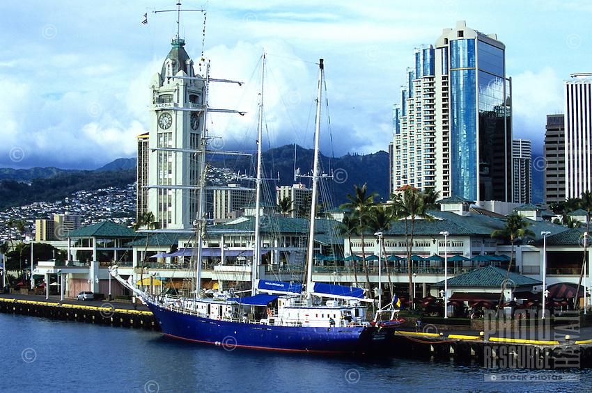 The Aloha Tower Marketplace in Honolulu Harbor
