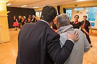 """Bundesarbeitsminister Hubertus Heil (SPD) (links im Bild) und die Bochumer Reinigungskraft Susanne Holtkotte (rechts im Bild) besuchten am Mittwoch den 20. November 2019 das Mehrgenerationenhaus """"Kreativhaus e.V."""" in Berlin-Mitte.<br /> Sie wollten mit den Rentnerinnen und Rentnern ueber das Thema Grundrente sprechen.<br /> Heil und Holtkotte hatten im Mai fuer einen Tag die Jobs getauscht, um einen Einblick in das Arbeitsleben des jeweils Anderen zu bekommen.<br /> Im Bild: Die Tanzgruppe """"Silver Dancer"""" zeigt Hubertus Heil Stuecke aus ihrem Repertoire.<br /> 20.11.2019, Berlin<br /> Copyright: Christian-Ditsch.de<br /> [Inhaltsveraendernde Manipulation des Fotos nur nach ausdruecklicher Genehmigung des Fotografen. Vereinbarungen ueber Abtretung von Persoenlichkeitsrechten/Model Release der abgebildeten Person/Personen liegen nicht vor. NO MODEL RELEASE! Nur fuer Redaktionelle Zwecke. Don't publish without copyright Christian-Ditsch.de, Veroeffentlichung nur mit Fotografennennung, sowie gegen Honorar, MwSt. und Beleg. Konto: I N G - D i B a, IBAN DE58500105175400192269, BIC INGDDEFFXXX, Kontakt: post@christian-ditsch.de<br /> Bei der Bearbeitung der Dateiinformationen darf die Urheberkennzeichnung in den EXIF- und  IPTC-Daten nicht entfernt werden, diese sind in digitalen Medien nach §95c UrhG rechtlich geschuetzt. Der Urhebervermerk wird gemaess §13 UrhG verlangt.]"""