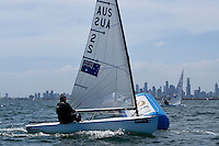Finn / Rob McMILLAN (AUS)<br /> ISAF Sailing World Cup Final - Melbourne<br /> St Kilda sailing precinct, Victoria<br /> Port Phillip Bay Tuesday 6 Dec 2016<br /> &copy; Sport the library / Jeff Crow