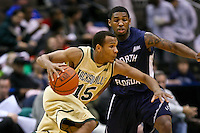 February 08, 2011:   Jacksonville Dolphins guard Alyos Cabell (15) drives past an UNF defender during Atlantic Sun Conference action between the Jacksonville Dolphins and the North Florida Ospreys at Veterans Memorial Arena in Jacksonville, Florida.  Jacksonville defeated North Florida 71-69.