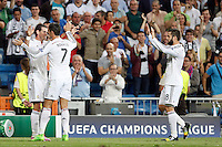 Gareth Bale, Cristiano Ronaldo and Nacho of Real Madrid during the Champions League group B soccer match between Real Madrid and FC Basel 1893 at Santiago Bernabeu Stadium in Madrid, Spain. September 16, 2014. (ALTERPHOTOS/Caro Marin) /NortePhoto.com