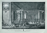 Inside of the Jesuits' Church after the renovations of 1666, with damage to the ceiling, engraving by Anthony Walker after a drawing by Richard Short, published in 1761 as a collection of Views of Quebec in the 18th century, by Thomas Jefferys in London, in the collection of the Musees du Quebec, Quebec City, Quebec, Canada. Picture by Manuel Cohen