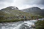 Crossing the rivers to do field work in Jotunheimen NasjonalPark