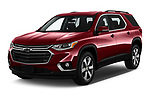2019 Chevrolet traverse 3LT 5 Door SUV angular front stock photos of front three quarter view