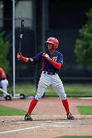 GCL Nationals second baseman Ronaldy Sosa (1) at bat during a game against the GCL Astros on August 6, 2018 at FITTEAM Ballpark of the Palm Beaches in West Palm Beach, Florida.  GCL Astros defeated GCL Nationals 3-0.  (Mike Janes/Four Seam Images)