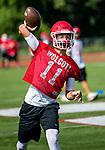 Wolcott, CT- 21 August 2017-082117CM05- Wolcott quarterback Mike Polzella runs through practice drills in Wolcott on Monday.    Christopher Massa Republican-American