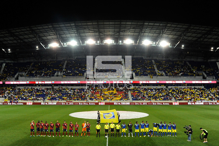 United States and Ecuador players line up prior to the start of the match. The men's national team of the United States (USA) Ecuador (ECU) during an international friendly at Red Bull Arena in Harrison, NJ, on October 11, 2011.