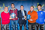 Weeshie Fogarty presents Bryan Sheehan his monthly Nissan/ Radio Kerry award (which he won last year) and David Randle presents St Mary's  co winners of the February award  at the Randles Nissan/Radio Kerry Sports stars of the year awards in Kaynes bar Dromhall Hotel Killarney on Monday night