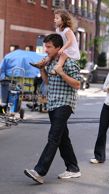 WWW.ACEPIXS.COM . . . . .  ....May 13 2009, New York City....Actor Jason Bateman and his daughter Francesca Nora Bateman were on the Brooklyn set of the new movie 'The Baster' on May 13 2009 in New York City.....Please byline: AJ Sokalner - ACEPIXS.COM..... *** ***..Ace Pictures, Inc:  ..tel: (212) 243 8787..e-mail: info@acepixs.com..web: http://www.acepixs.com