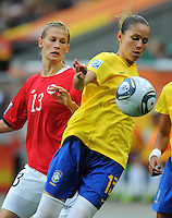 Erika (r) of team Brazil and Madeleine Giske of team Norway during the FIFA Women's World Cup at the FIFA Stadium in Wolfsburg, Germany on July 3rd, 2011.