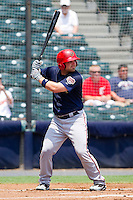 Derek Norris #25 of the Harrisburg Senators at bat against the Richmond Flying Squirrels at The Diamond on July 22, 2011 in Richmond, Virginia.  The Squirrels defeated the Senators 5-1.   (Brian Westerholt / Four Seam Images)
