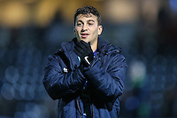 Goalscrorer Scott Kashket of Wycombe Wanderers applauds the home fans after the Sky Bet League 2 match between Wycombe Wanderers and Leyton Orient at Adams Park, High Wycombe, England on 17 December 2016. Photo by David Horn / PRiME Media Images.