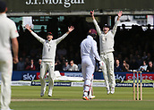 9th September 2017, Lords Cricket Ground, London, England; International test match series, third test, Day 3; England versus West Indies; England Captain Joe Root's appeal for Leg Before Wicket are ignored by Umpire Marais Erasmus
