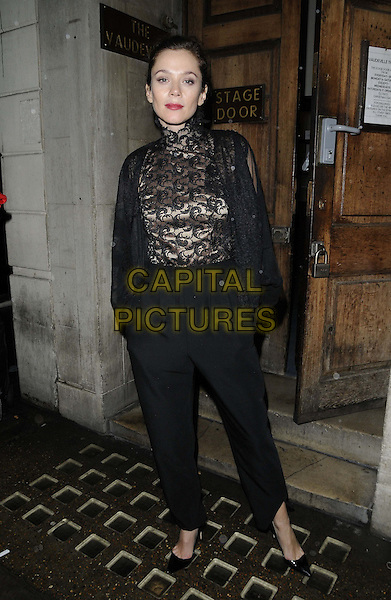 Anna Friel.departed after the evening performance of 'Uncle Vanya', Vaudeville Theatre, The Strand, London, England, UK, .24th November 2012..full length black lace top high neck baggy trousers jacket pointy shoes hands in pockets .CAP/CAN.©Can Nguyen/Capital Pictures.