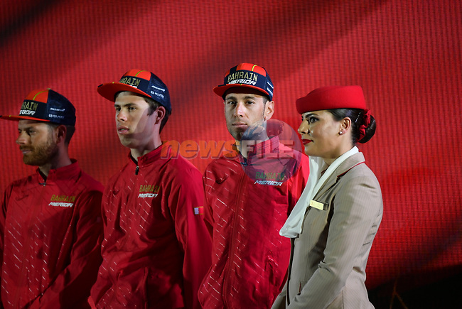 Vincenzo Nibali (ITA) Bahrain-Merida on stage at the inaugural UAE Tour 2019 opening ceremony and team presentation held in the Louvre Abu Dhabi, United Arab Emirates. 23rd February 2019.<br /> Picture: LaPresse/Massimo Paolone  | Cyclefile<br /> <br /> <br /> All photos usage must carry mandatory copyright credit (© Cyclefile | LaPresse/Massimo Paolone)