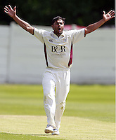 Maruf Chowdhury of North Middlesex appeals for an LBW during the ECB Middlesex Premier League game between North Middlesex and Brondesbury at Park Road, Crouch End on Sat June 21, 2014.