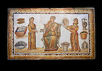 5th century Roman mosaic panel of the ceremonial dressing of a lady. The lady was of the landed gentry from inland Carthage. She is sitting on a high backed armchair and is surrounded by two ornatrix, maids, whoa re helping her to apply make up and style her hair. Items related to bathing and grooming are depicted on the background of the mosaic. The maid hold a mirror for the lady in which we see her reflection The scene is an allegory of the myth of &lsquo;Venus at her toilet&rsquo;.<br /> <br /> From the floor of the changing room of the private baths of the Sidi Ghraib villa, Borj El Amre region, Tunisia. The Bardo Museum, Tunis, Tunisia. Black background