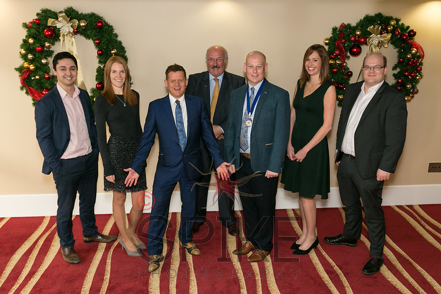 From left Iain Musgrove of Air IT, Kirsty Edwards of Notts County FC, Mike Bushell, Robert Sansom of Frank Key, NCBC President Ian Roberts, Marie Cooper of Buckles and Ewan Carr of Buckles