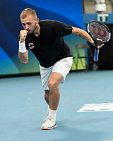 7th January 2020; Sydney Olympic Park Tennis Centre, Sydney, New South Wales, Australia; ATP Cup Australia, Sydney, Day 5; Great Britain versus Moldova; Daniel Evans of Great Britain versus Radu Albot of Moldova; Daniel Evans of Great Britain celebrates after winning his match against Radu Albot of Moldova - Editorial Use
