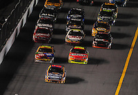Feb 07, 2009; Daytona Beach, FL, USA; NASCAR Sprint Cup Series driver Jamie McMurray (26) leads the field during the Bud Shootout at Daytona International Speedway. Mandatory Credit: Mark J. Rebilas-