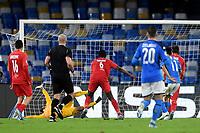 Hirving Lozano of SSC Napoli scores the goal of 1-1 for his side <br /> Napoli 05-11-2019 Stadio San Paolo <br /> Football Champions League 2019/2020 Group E<br /> SSC Napoli - FC Salzburg<br /> Photo Antonietta Baldassarre / Insidefoto