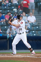 Mitch Delfino (10) of the Richmond Flying Squirrels at bat against the Bowie Baysox at The Diamond on May 23, 2015 in Richmond, Virginia.  The Baysox defeated the Flying Squirrels 3-2.  (Brian Westerholt/Four Seam Images)