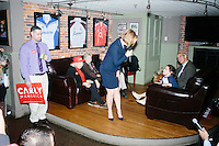 Republican presidential candidate and former HP CEO Carly Fiorina speaks to a small group of supporters in the basement of the Barley House in Concord, New Hampshire.