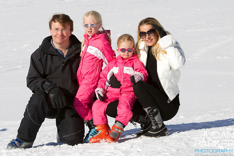 Prince Friso, and Princess Mabel of Holland with children,Countess Emma Luana , and Countess Joanna Zaria, attend a Photocall with Members of The Dutch Royal Family during their Winter Ski Holiday in Lech Austria