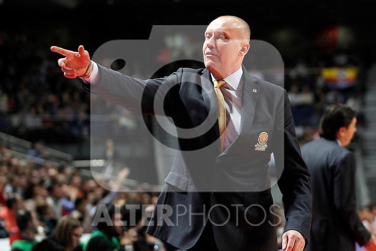 BC Khimki MR's coach Rimas Kurtinaitis during Euroleague 2012/2013 match.November 23,2012. (ALTERPHOTOS/Acero)