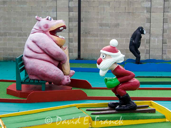 Santa and animals at Goofy Golf on the boardwalk in Ocean City New Jersey