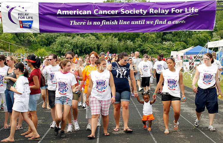 Waterbury, CT-05, June 2010-060510CM16  Walkers participate in the 17th annual Greater Waterbury Relay for Life Saturday afternoon at Crosby High School.    --Christopher Massa Republican-American