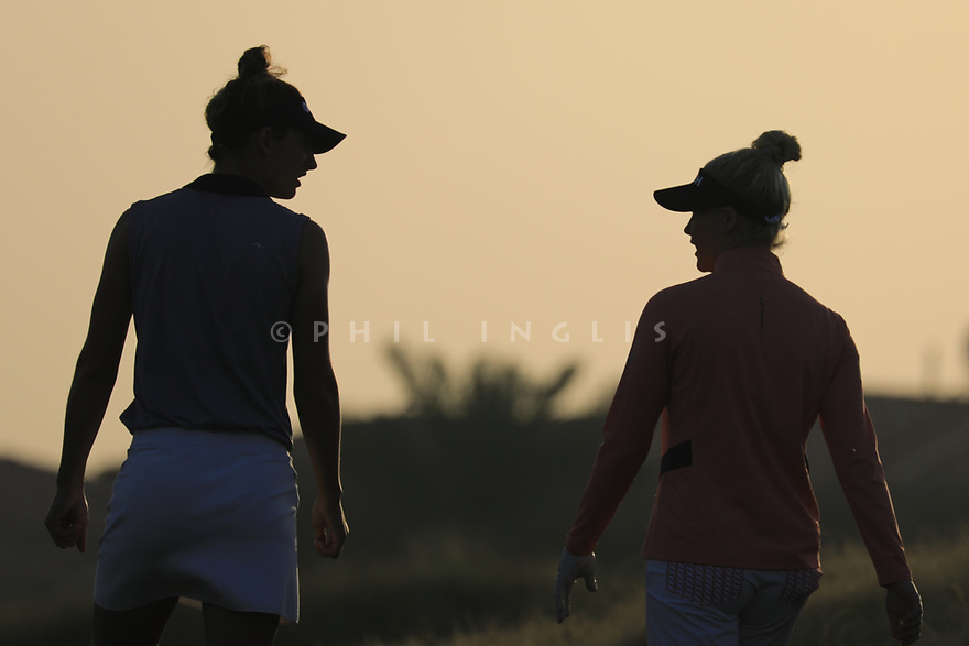 Charley Hull (ENG) and  Anne Van Dam (NED) during the first round of the Fatima Bint Mubarak Ladies Open played at Saadiyat Beach Golf Club, Abu Dhabi, UAE. 10/01/2019<br /> Picture: Golffile | Phil Inglis<br /> <br /> All photo usage must carry mandatory copyright credit (© Golffile | Phil Inglis)