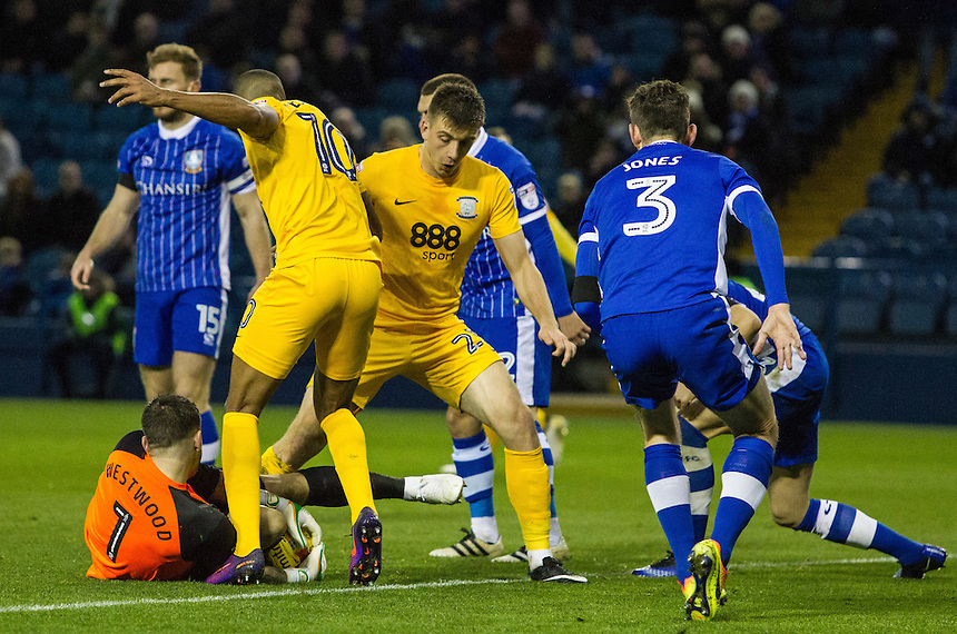 Preston North End's Jordan Hugill and Jermaine Beckford try to nick the ball off Sheffield Wednesday's Keiren Westwood<br /> <br /> Photographer Alex Dodd/CameraSport<br /> <br /> The EFL Sky Bet Championship - Sheffield Wednesday v Preston North End - Saturday 3rd December 2016 - Hillsborough - Sheffield<br /> <br /> World Copyright &copy; 2016 CameraSport. All rights reserved. 43 Linden Ave. Countesthorpe. Leicester. England. LE8 5PG - Tel: +44 (0) 116 277 4147 - admin@camerasport.com - www.camerasport.com