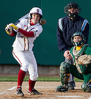 STANFORD, CA - February 25, 2011:  Ashley Hansen watches her 3rd inning home run in Stanford's 12-0 victory over North Dakota State at Stanford, California on February 25, 2011.