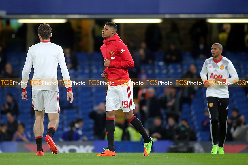 Manchester United's Marcus Rashford warms up pre-match during Chelsea vs Manchester United, Emirates FA Cup Football at Stamford Bridge on 13th March 2017