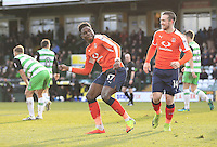 Pelly Ruddock of Luton Town celebrates his goal during the Sky Bet League 2 match between Yeovil Town and Luton Town at Huish Park, Yeovil, England on 4 March 2017. Photo by Liam Smith / PRiME Media Images.