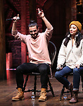 "Giuseppe Bausilio and Lauren Boyd during the eduHAM Q & A before The Rockefeller Foundation and The Gilder Lehrman Institute of American History sponsored High School student #EduHam matinee performance of ""Hamilton"" at the Richard Rodgers Theatre on November 13, 2019 in New York City."