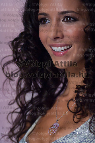 Contestant Edina Siha participates the Beauty Queen live TV show hosting the joint beauty contests Miss World Hungary, Miss Universe Hungary and Miss Earth Hungary, held in Hungary's tv2 television headquarter in Budapest, Hungary on July 14, 2011. ATTILA VOLGYI