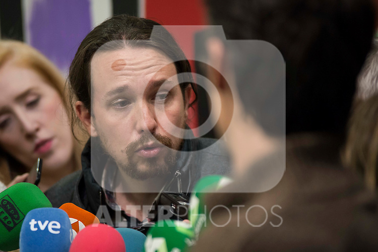 General Secretary of Podemos, Pablo Iglesias after the meeting with General Secretary of CCOO , Ignacio Fernandez Toxo in Madrid. November 16, Spain. 2016. (ALTERPHOTOS/BorjaB.Hojas)