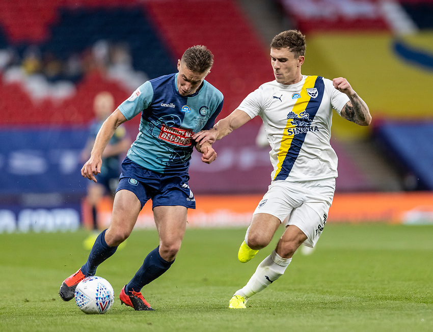 Wycombe Wanderers' David Wheeler competing with Oxford United's Josh Ruffels (right)  <br /> <br /> Photographer Andrew Kearns/CameraSport<br /> <br /> Sky Bet League One Play Off Final - Oxford United v Wycombe Wanderers - Monday July 13th 2020 - Wembley Stadium - London<br /> <br /> World Copyright © 2020 CameraSport. All rights reserved. 43 Linden Ave. Countesthorpe. Leicester. England. LE8 5PG - Tel: +44 (0) 116 277 4147 - admin@camerasport.com - www.camerasport.com