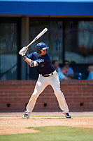 Mobile BayBears first baseman Luis Tejada (19) at bat during a game against the Pensacola Blue Wahoos on April 26, 2017 at Hank Aaron Stadium in Mobile, Alabama.  Pensacola defeated Mobile 5-3.  (Mike Janes/Four Seam Images)