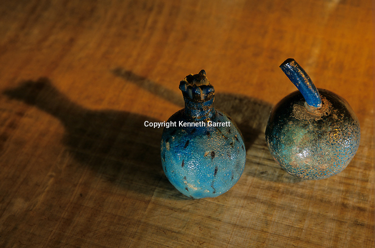 Faience pomegranates; Amenhotep II, Tutankhamun and the Golden Age of the Pharaohs, Page 66 top