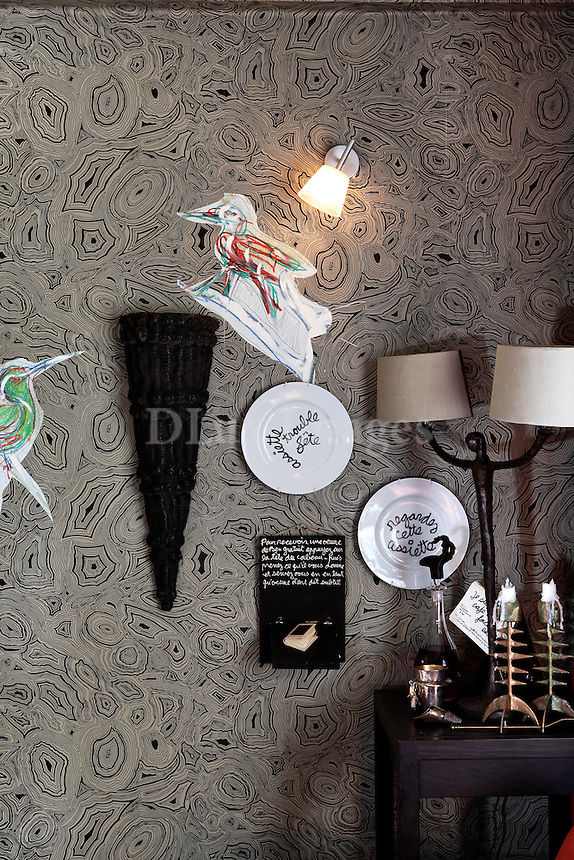 decorations on black and white wallpaper