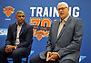 Phil Jackson, President of the New York Knicks, right, speaks while sitting alongside General Manager Steve Mills at news conference at MSG Training Center in Greenburgh on Friday, Sept. 23, 2016.