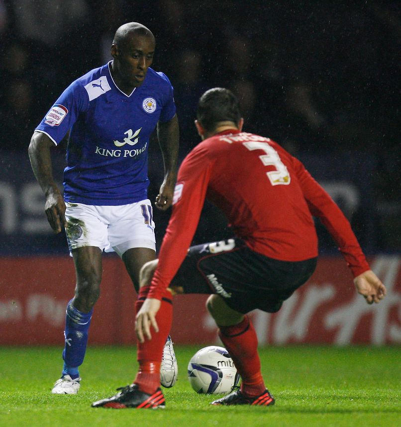Leicester City's Lloyd Dyer and Cardiff City's Andrew Taylor (R) in action   ..Football - npower Football League Championship - Leicester City v Cardiff City - Saturday 22nd December 2012 - The King Power Stadium - Leicester..© CameraSport - 43 Linden Ave. Countesthorpe. Leicester. England. LE8 5PG - Tel: +44 (0) 116 277 4147 - admin@camerasport.com - www.camerasport.com